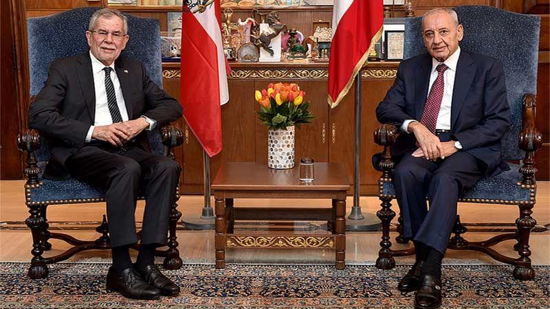 بري يستقبل الرئيس النمساوي: نصر على تنفيذ القرار 1701 ووضع حد للخروقات الصهيونية