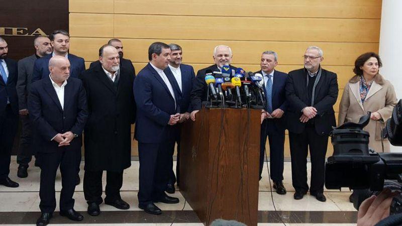 ظريف من بيروت: إيران مستعدة للتعاون مع لبنان في جميع المجالات