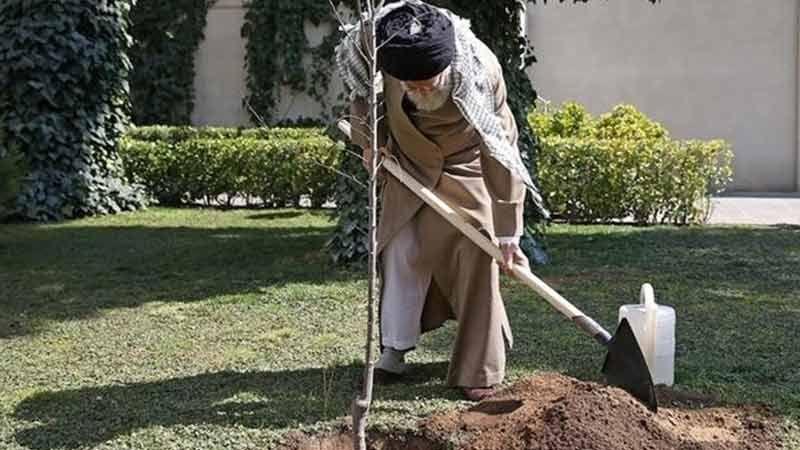 الإمام الخامنئي يغرس شتلتي فاكهة بمناسبة يوم الشجرة