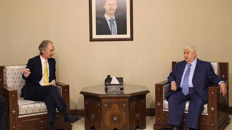 المعلم يؤكد لبيدرسون التزام سوريا بالعملية السياسية