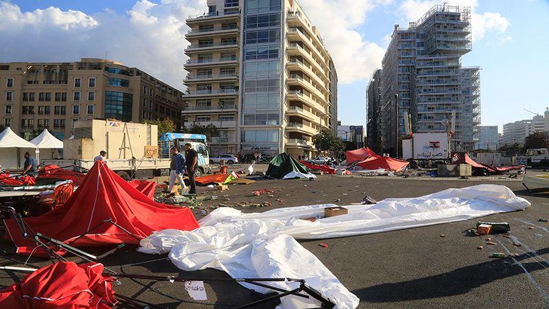 بالصور: فض الإعتصام في ساحتي رياض الصلح والشهداء والرينغ