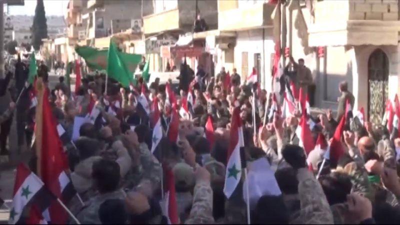 بالفيديو: تشييع رمزي لأهالي نبل والزهراء بريف حلب للواء الشهيد سليماني والقائد الشهيد المهندس