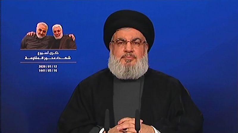 """السيد نصر الله: هيبة أميركا كسرت .. وقوات """"عين الأسد"""" وقفوا على رجل ونصف"""