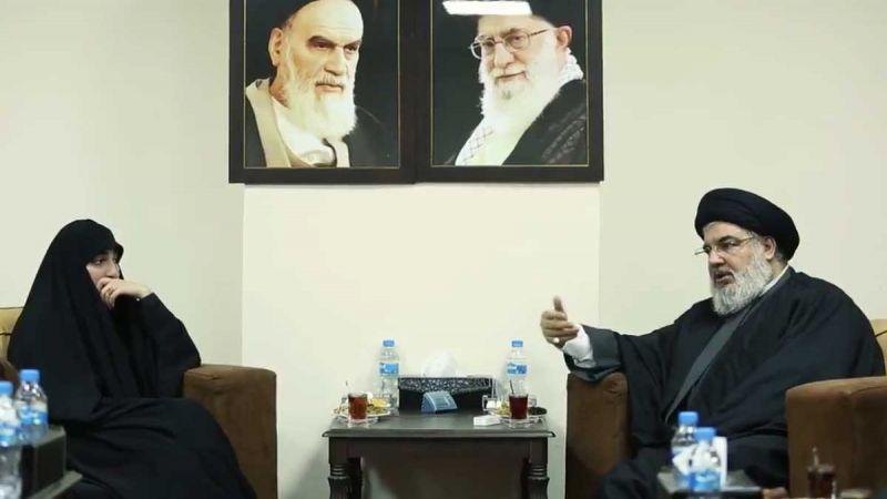 بالفيديو: لقاء سماحة السيد نصر الله مع كريمة الشهيد سليماني