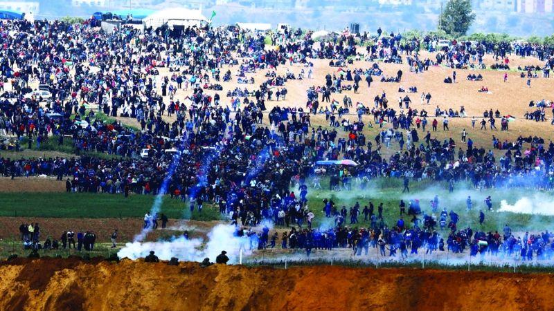 إصابة عشرات الفلسطينيين في مواجهات مع الإحتلال بالضفة الغربية