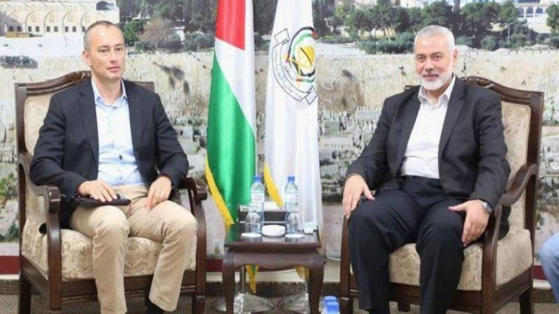 """""""حماس"""" تكشف نتائج مباحثات هنية مع ملادينوف"""