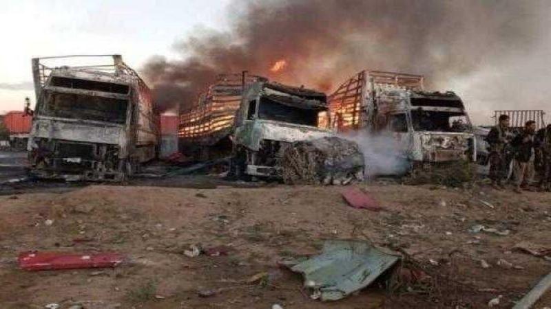 العدوان السعودي يستهدف شاحنات الغذاء في البيضاء