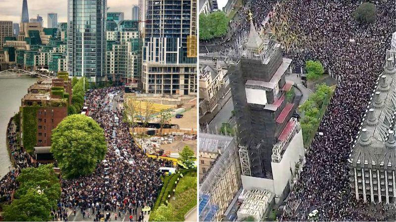 """تظاهرات حاشدة في أوروبا مناهضة لـ """"الوحشية الأمريكية"""""""