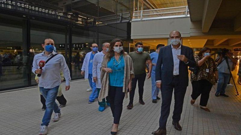 وزيرا الصحة والإعلام تفقدا الاجراءات المتخذة في المطار لضمان العودة الآمنة للمسافرين