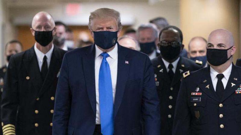 بالفيديو.. ترامب يرتدي الكمامة للمرة الأولى