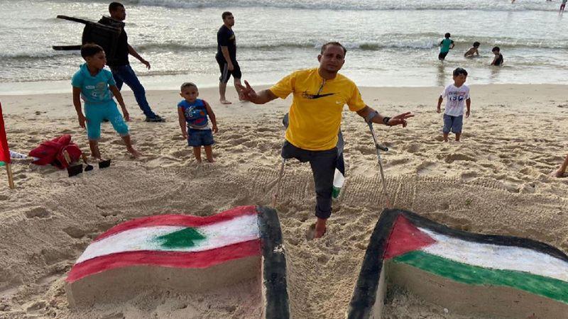 من غزة إلى بيروت .. تضامن بريشة جريح مقاوم