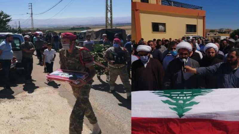 الجيش اللبناني وأهالي غرب بعلبك شيعوا شهيد انفجار المرفأ الرقيب حسن صادق شمص