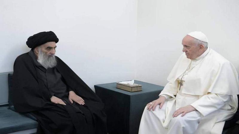 بالصور.. لقاء تاريخي بين آية الله السيستاني والبابا فرنسيس الأول