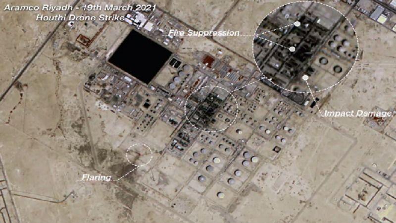 """بالفيديو ..  هكذا بدَت منشأة """"أرامكو"""" بعد استهدافها بمسيرات يمنية"""