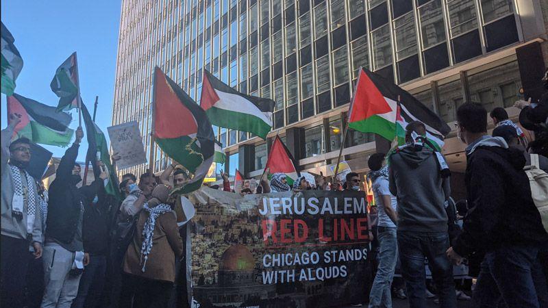 تظاهرة كبرى داعما لفلسطين ورفضًا للعدوان في شيكاغو