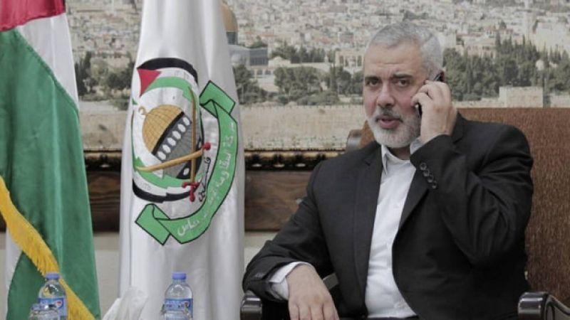 إسماعيل هنية يهاتف والد الشهيد اللبناني محمد طحان