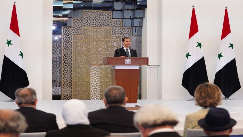 الأسد: ثابتون مع فلسطين