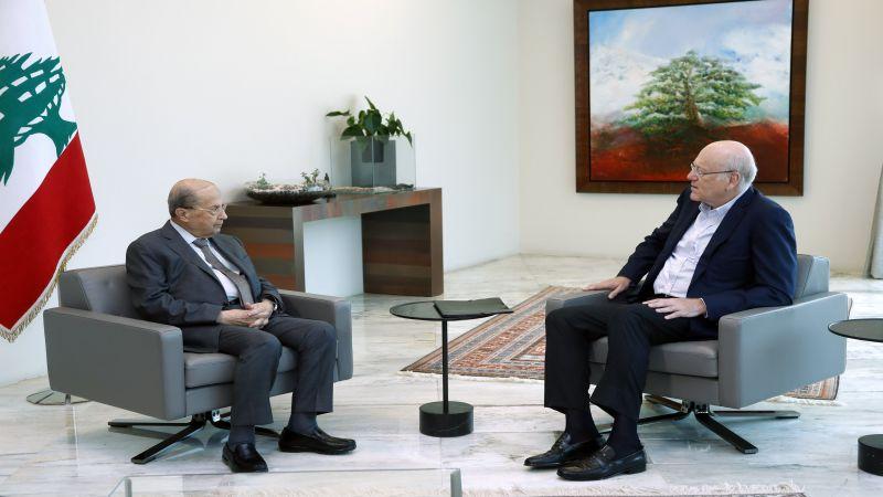 ميقاتي بعد لقاءه رئيس الجمهورية: لمست قبولاً من جانبه وان شاء الله نصل إلى حكومة قريباً
