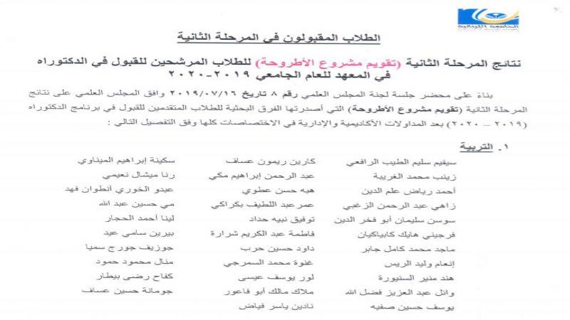 المعهد العالي للدكتوراه بالجامعة اللبنانية يصدر نتائج تقويم مشروع الأطروحة للعام 2019_2020