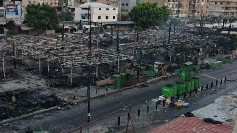 حريق كبير يأتي على بسطات الفقراء وبعض المحال عند جسر أبو علي بطرابلس