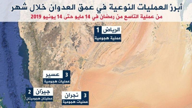 انفوغراف - عمليات نوعية للجيش اليمني في عمق مواقع العدوان السعودي خلال شهر